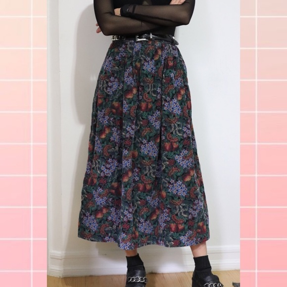 L.L. Bean Dresses & Skirts - ❌SOLD❌ Vintage Fruit & Floral Print Corduroy Skirt